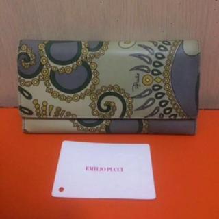 エミリオプッチ(EMILIO PUCCI)の本物エミリオプッチのグリーン×グレー系幾何学的な長財布(財布)