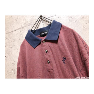 [used]Bright red striped polo shirt.