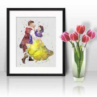 ディズニー(Disney)の日本未発売!白雪姫&王子・アートポスター【額縁つき・送料無料!】(ポスター)