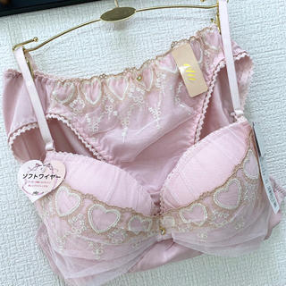 【新品】Aカップ☆ピンクハート ブラショーセット♡女装サイズ A85LL(ブラ&ショーツセット)