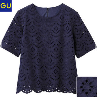 ジーユー(GU)のTブラウス  コットンレース 半袖ブラウス ネイビー  GU (シャツ/ブラウス(半袖/袖なし))