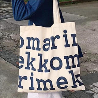 marimekko - マリメッコ 100%オーガニックコットンバッグ 青字