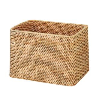MUJI (無印良品) - 無印良品 重なるラタン長方形バスケット 大 新品同様