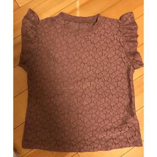 シマムラ(しまむら)のくすみピンク レーストップス(シャツ/ブラウス(半袖/袖なし))