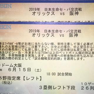 ハンシンタイガース(阪神タイガース)の6/15(土)オリックスvs阪神 レフト下段2枚(野球)