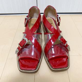 トーガ(TOGA)のトーガ 定価63720円TOGA クリアサンダル クロスベルト サイズ37 赤(サンダル)