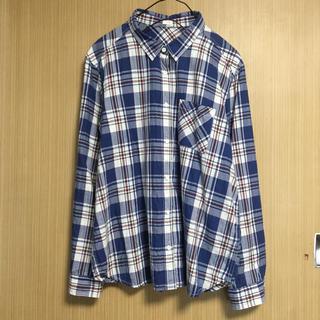 ジーユー(GU)のGU チェックシャツ ネルシャツ ブルー ホワイト ネルシャツ XL(シャツ/ブラウス(長袖/七分))