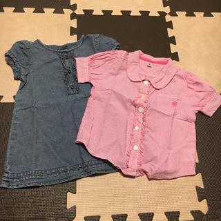 ベビーギャップ(babyGAP)のSALE⭐️2枚セット【90】baby gapのデニムワンピース&半袖ワイシャツ(ワンピース)
