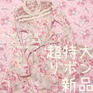 リズリサ(LIZ LISA)の新品♡超特大リボン♡大人ローズ♡春♡オーガンジー♡インスタ映え♡モテ♡デート♡(ミニワンピース)