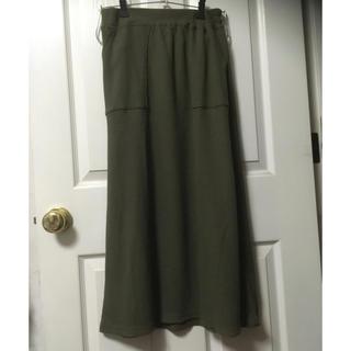 シマムラ(しまむら)の新品しまむらワッフルフレアマキシスカートL中黄緑(ロングスカート)