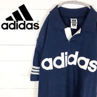アディダス(adidas)のアディダス◆デカロゴ スリーストライプ 3本線 デサント製 ポロシャツ 90s(Tシャツ/カットソー(半袖/袖なし))