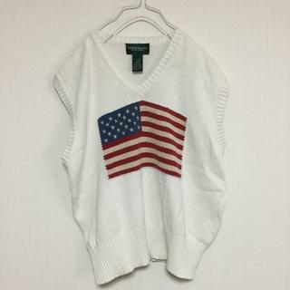 360e3cffe9818 ラルフローレン(Ralph Lauren)のラルフローレン ニット ベスト USA製 星条旗 アメリカ 白