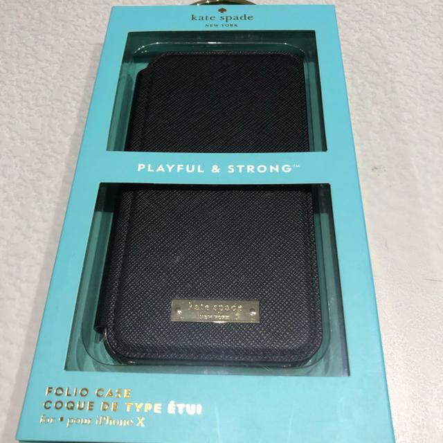 kate spade new york - iPhoneX XS ケイトスペイド Kate spade 黒 手帳型ケースの通販