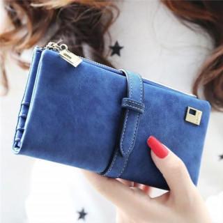 レディース 長財布 スウェード調 7色 ファスナー カード 小銭 収納可 ブルー(財布)