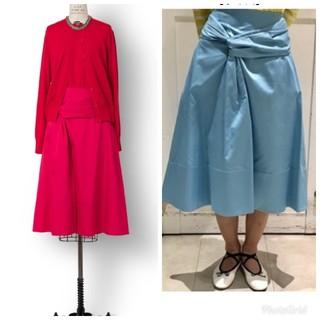 ドゥロワー(Drawer)の新品 ドゥロワー フレアスカート リボン タフタ ギャザースカート(ひざ丈スカート)