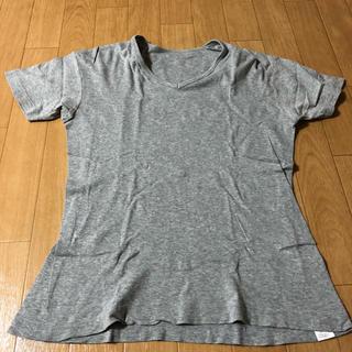 ユニクロ(UNIQLO)のユニクロ VネックTシャツ(グレー)(Tシャツ/カットソー(半袖/袖なし))