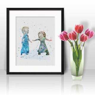 ディズニー(Disney)のアナ&エルサ(アナ雪・アナと雪の女王)アートポスター【額縁つき・送料無料!】(ポスター)