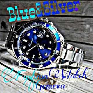 Gemeva 腕時計 メンズ ウォッチ オーシャンブルー シルバー ステンレス(腕時計(アナログ))