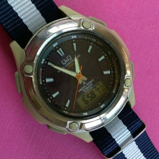 シチズンQ&Q 電波ソーラー メンズ腕時計☆ジャンク(腕時計(アナログ))