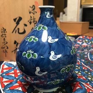源右衛門  染錦水鳥図  花瓶