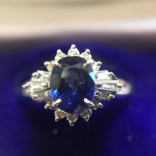 鑑定済み プラチナ サファイヤ ダイヤ 指輪  総重量6.1g(リング(指輪))