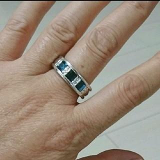 シルバーリング サファイアリング  15号メンズ指輪 大ぶり目立つリング(リング(指輪))