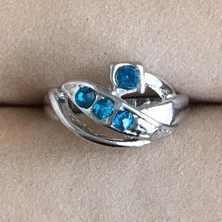 (104)ブルービジューのデザインリング シルバー ヴィンテージ(リング(指輪))