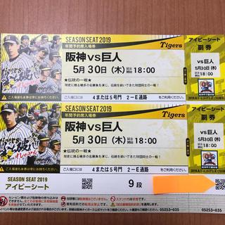 ハンシンタイガース(阪神タイガース)の阪神 vs 巨人 5月30日(木) 甲子園 アイビーシート ペアチケット(野球)