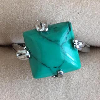 (105)グリーンターコイズ スクエアストーンのリング シルバー ヴィンテージ(リング(指輪))