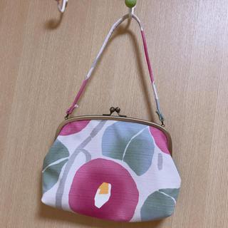 椿柄 和風バッグ