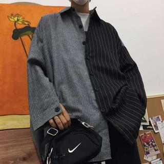 【SALE!】秋冬 ツートーン バイカラー モード 系 ビックシルエット シャツ(シャツ)