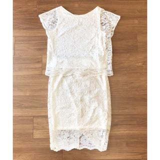 ジーユー(GU)の新品♡GU レースセットアップ ホワイト 白(ひざ丈スカート)