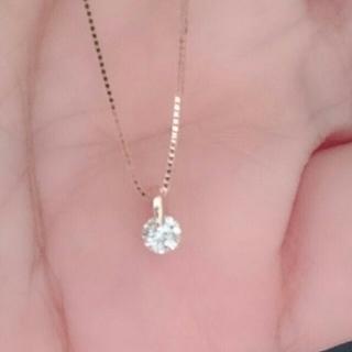 《美品》K18 天然ダイヤモンド 0.10ct ネックレス