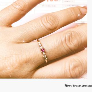 アガット(agete)のルビー ダイヤモンド 華奢リング10K (リング(指輪))