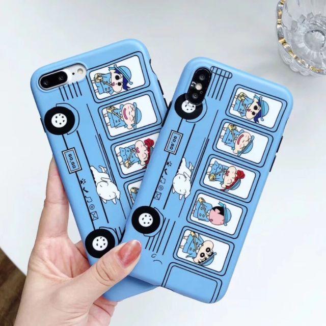 クレヨンしんちゃん スクールバス ライトブルー iPhoneケース TPUの通販 by ぴょんす's shop|ラクマ