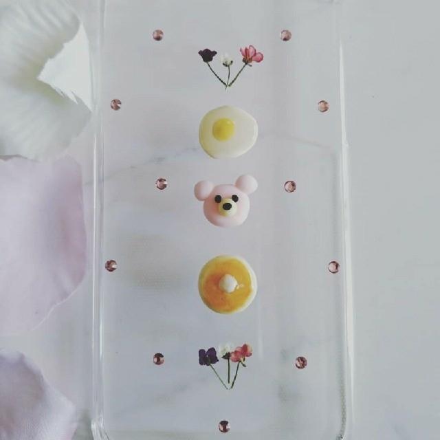 iPhoneケース ハンドメイド ピンクのクマちゃんとアリッサムの押し花の通販 by RSI's shop|ラクマ