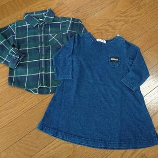 シマムラ(しまむら)のしまむら  デニムカットソーワンピース+チェックシャツ(Tシャツ/カットソー)