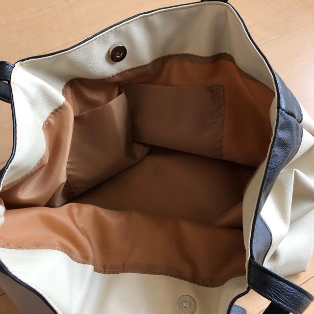 しまむら(シマムラ)のリボン ☆ トートバッグ ☆ アイボリー×ブラック ☆ バイカラー ☆ トート レディースのバッグ(トートバッグ)の商品写真