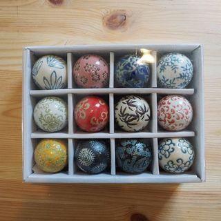 陶器 浮き玉 4cm  12個セット  中  和風 和柄 新品未使用品