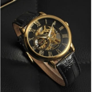 FORSINING 手巻き スケルトン腕時計 金☓黒