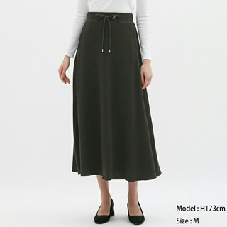 ジーユー(GU)のGU ワッフルフレアロングスカート ブラック XXL(ロングスカート)