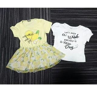 f6d30420b8456 サンカンシオン(3can4on)の90cm レモンのワンピース&白半袖Tシャツ 2
