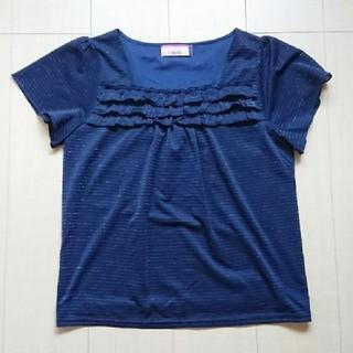 エシェリ(et Cheri)の値引交渉OK カットソー シャツ ブラウス 半袖 紺 青 ブルー(カットソー(半袖/袖なし))