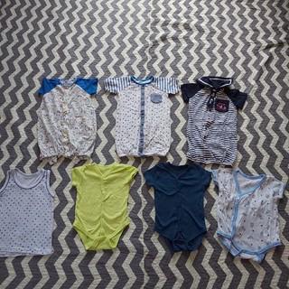 ニシマツヤ(西松屋)の新生児 50 60 まとめ売り 子供服 ベビー服 ロンパース 男の子 肌着(肌着/下着)