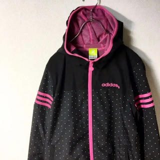 adidas - ドット柄! adidas neo ナイロンジャケット パーカー ロゴ 黒 ピンク