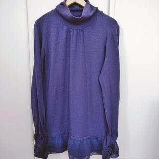 セシール(cecile)のパープル 長袖 ロングタートルネックTシャツ(Tシャツ(長袖/七分))