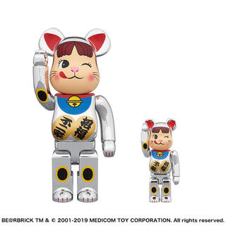 メディコムトイ(MEDICOM TOY)のBE@RBRICK 招き猫 ペコちゃん 銀メッキ 100% & 400%(その他)