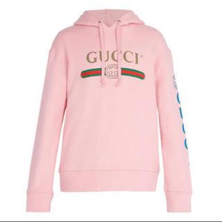 グッチ(Gucci)のGUCCI ピンクパーカ ドラゴン刺繍(パーカー)