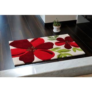 大きな赤い花をあしらったマット 50×80cm