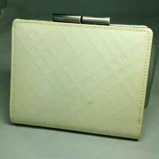 バーバリー(BURBERRY)のバーバリー 財布 二つ折り がま口 ノヴァ エナメル ホワイト系 未使用(折り財布)